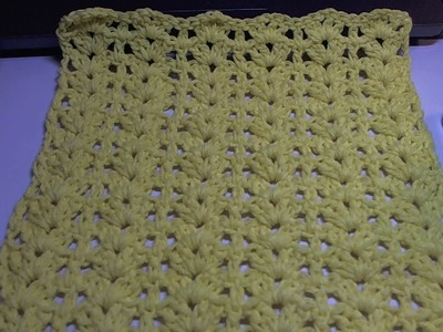 Easy crochet dishcloth with Shells and posts design. Beginner Level