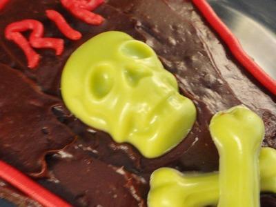 Halloween Coffin Brownies (Wilton skeleton mold demonstration #9.homemade cookie cutters)
