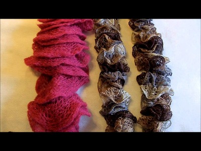 How to knit or crochet through knot in Sashay ruffle scarf yarn