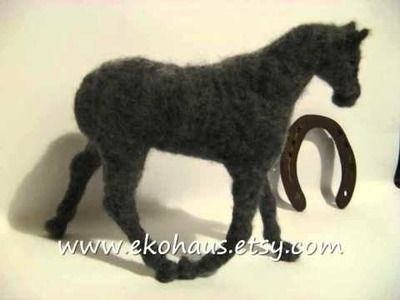 Making needle felted horse with beaded horseshoes