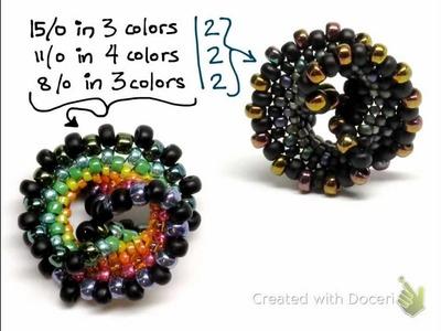 Rainbow Twist Beaded Bead Made with Peyote Stitch by Gwen Fisher