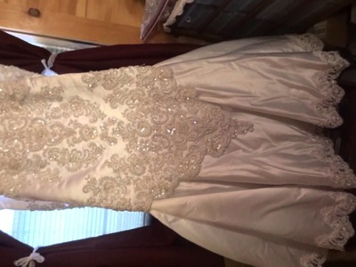 Thrift Store Finds Wedding Dress & Crochet Curtains