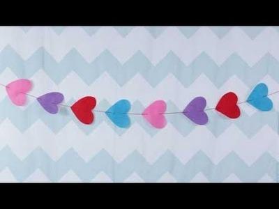 Valentine's Day Felt Hearts Garland Craft