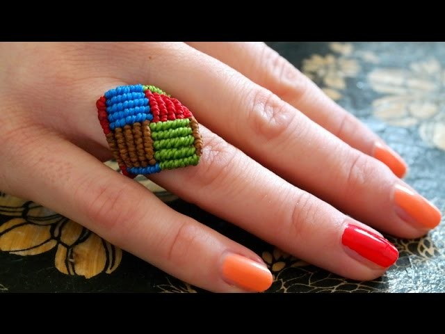A Multicolored Macrame Square Ring - Simple Tutorial [DIY]