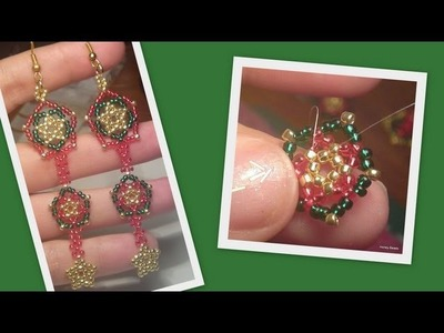 Beaded Star Earrings to go with the Christmas set Beading Tutorial by HoneyBeads1 (Photo tutorial)