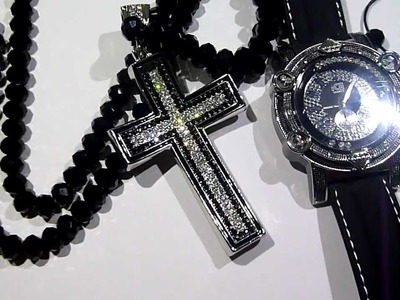 "COMBO: $165 ""Adjustable"" Black Diamond bead type Chain +Floating Stones Watch +Bracelet +Cross! LAB"