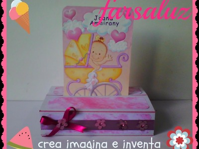 Invitación para baby shower ( tarjeta scrapbook con base) creativegiirls