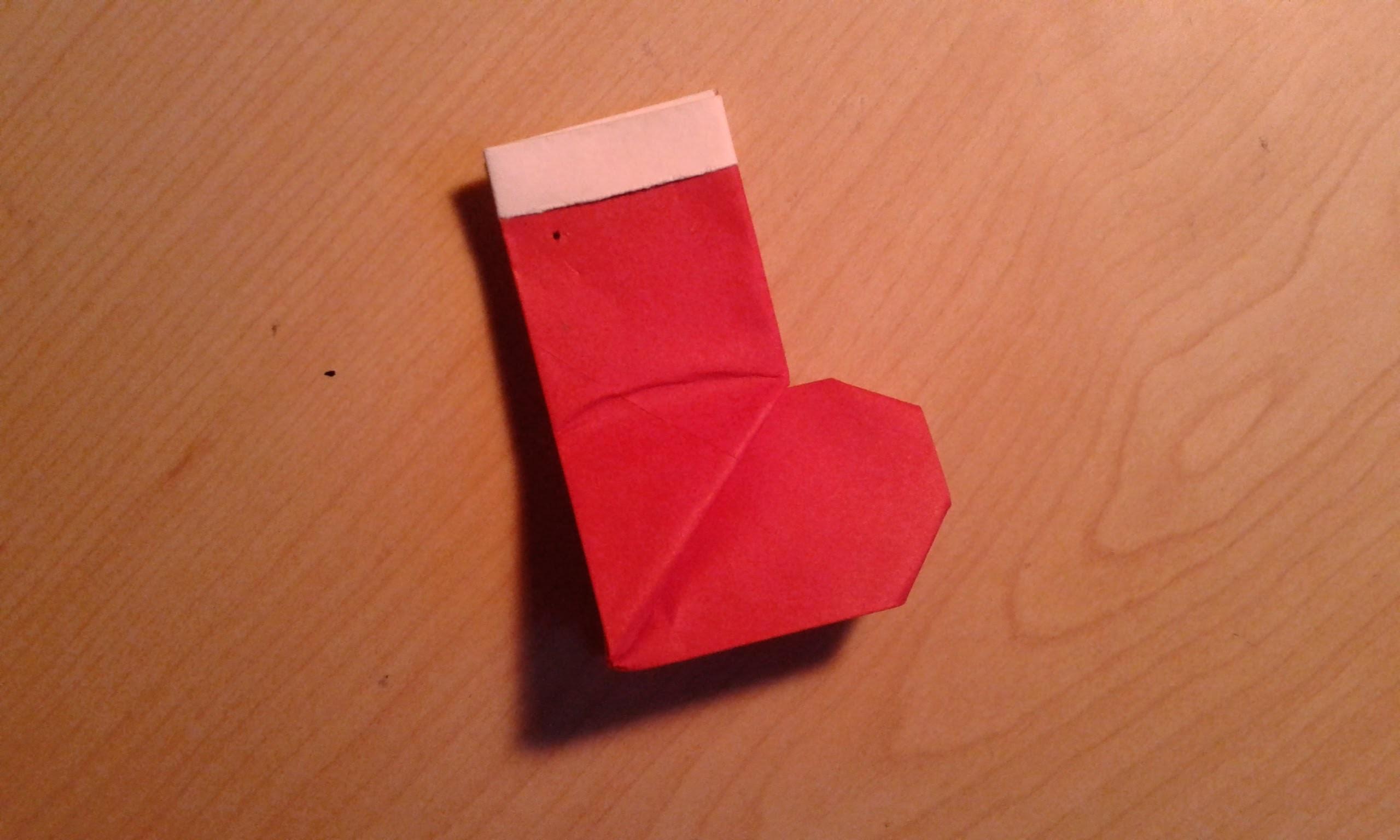 Origami Christmas Stocking.Santa Boot - Easy Tutorial