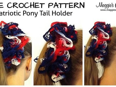 Patriotic Pony Tail Holder Free Crochet Pattern - Right Handed