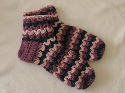 VERY EASY chunky crochet slipper socks tutorial - part 2