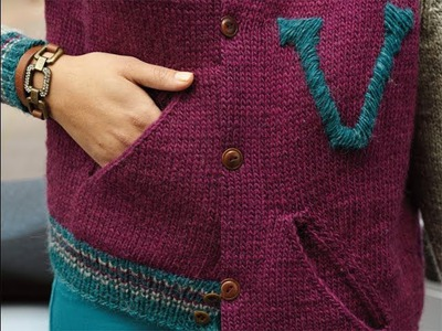 "#33 ""V' Varsity Jacket, Vogue Knitting Early Fall 2013"