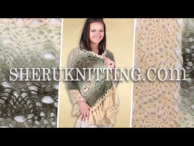 Crochet Pineapple Stitch Wrap With Tassels Model 11
