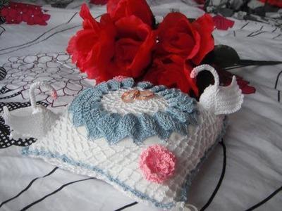 Crochet wedding pillows and gloves