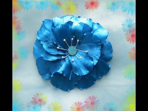 """""""Цветок индиго"""" за 3 минуты.Kanzashi.DIY.Tutorial"""