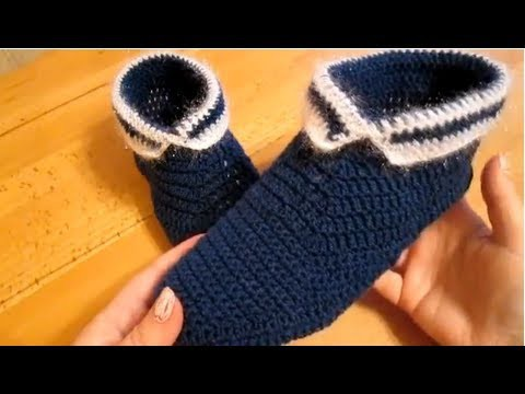 خف - لكلوك - حذاء - بوت كروشية والطريقه بالفيديو crochet slippers