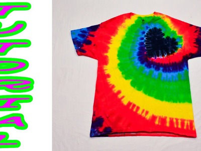 DIY Tie Dye Rainbow Spiral Heart Shirt [Tutorial]