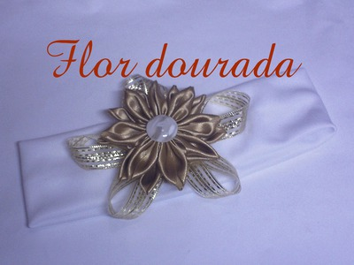 Flor dourada. golden Flower headband DIY