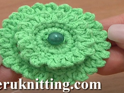 Layered Crochet Stuffed Flower Button Tutorial 6 Part 1 of 2 Layered Crochet Flowers Picots Around
