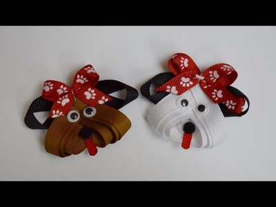 PUPPY DOG Ribbon Sculpture Zoo Animal Hair Clip Bow DIY Free Tutorial by Lacey