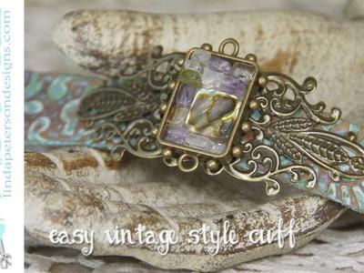 Beads in Bezels - Easy Vintage Cuff Bracelet