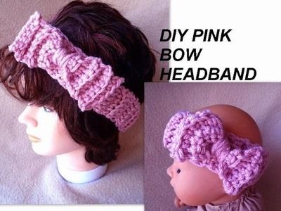 CROCHET PATTERN - PINK HEADBAND WITH BOW, Beginner level