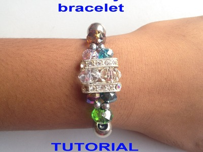 DIY -How to make a Crystal Beaded stretch cord  Bracelet TUTORIAL