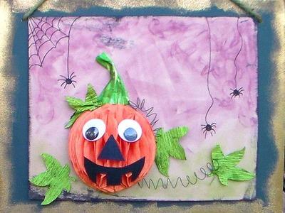 Kids pumpkin craft for fall or halloween