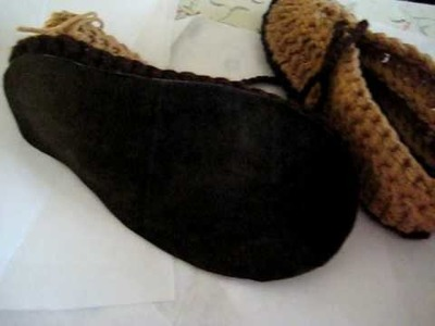 Adding Leather or Suede to Crocheted Loafer Slippers.