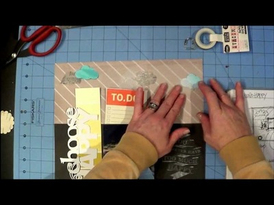 Choose HAPPY 12x12 Layout Scrapbook Tutorial by LBD Kit Club's DT Member, Jenni, March 2013 kit