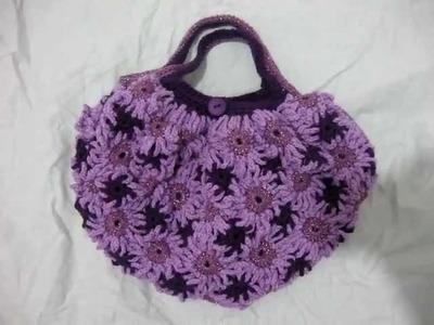 Crochet Flower Purse Light Purple