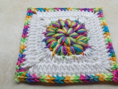 #Crochet Puffy Granny Square -Circle Start- Crochet tutorial