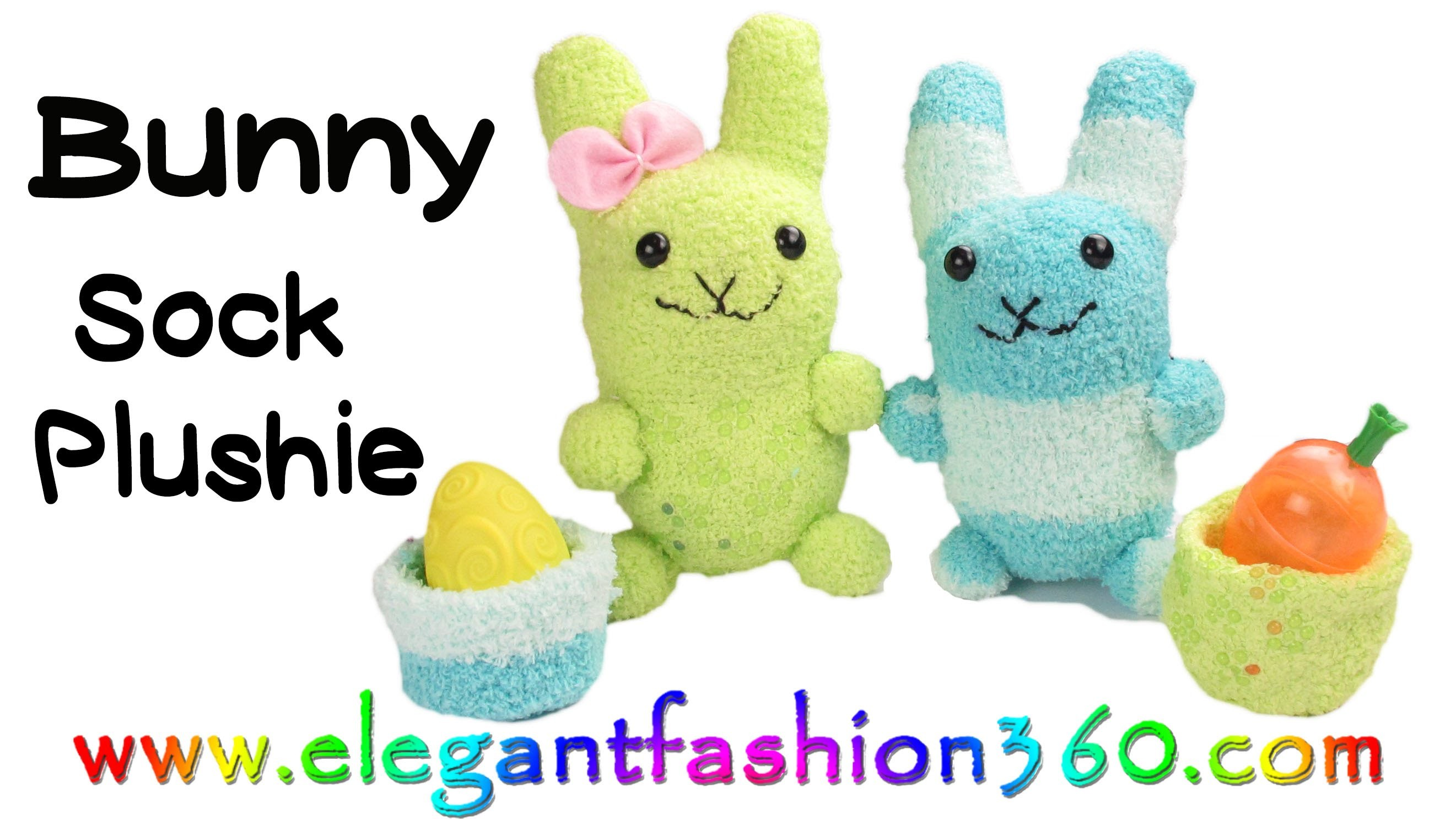 DIY Kawaii Bunny - Sock Plushie.Stuffed Animal.Easter How to by Elegant Fashion 360