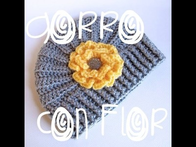 Gorro tejido con flor. how to crochet a flower hat