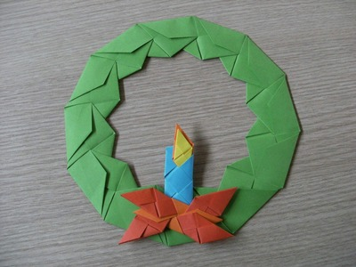 Origami - advent wreath with candle - wieniec adwentowy ze świecą - how to make