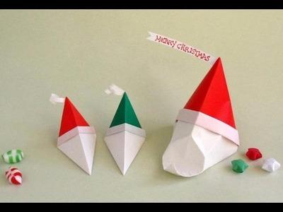 Tutorial: Origami Santa Gift Box  --Cajita Papá Noel