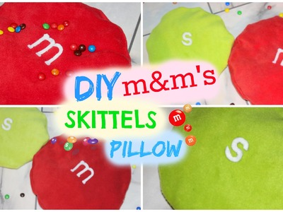 DIY Room Decor ♥ Cute and Easy M&M'S Pillow and Skittles Pillow (No Sew) • heartcindy