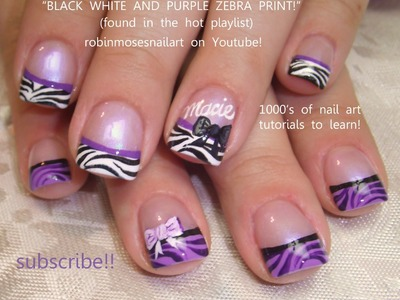 Nail Art Design DIY Purple Zebra Tips with Bows
