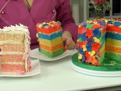 Rainbow Cake: How To Make A Rainbow Flower Cake