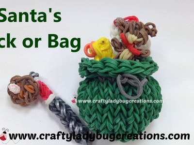 Rainbow Loom Christmas Santa Sack or Bag Charm How to Make Loom Band Tutorials by Crafty Ladybug