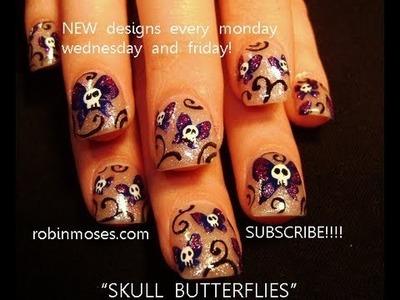 Skull Butterfly Nail Art