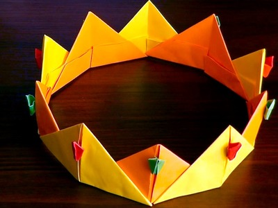 3D origami crown (diadem, corona) tutorial