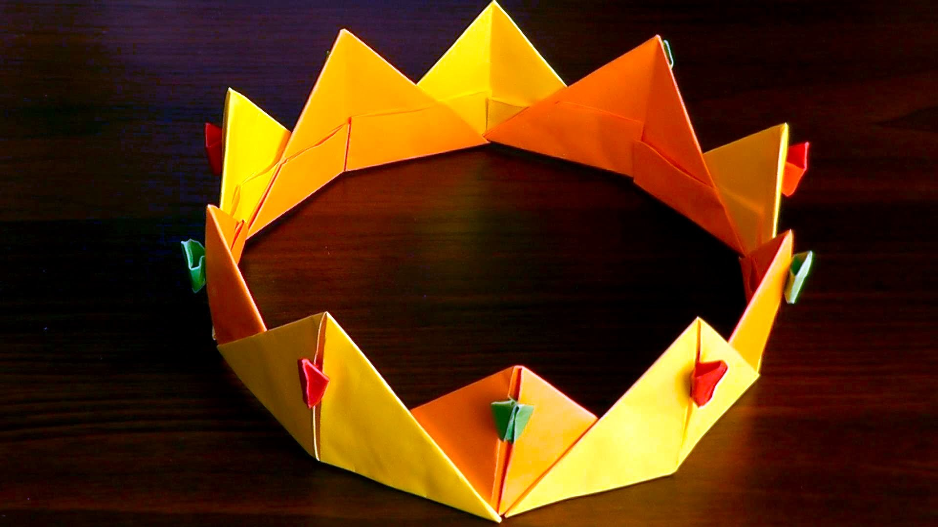 3D origami crown (diadem, corona) tutorial, My Crafts and ... - photo#49
