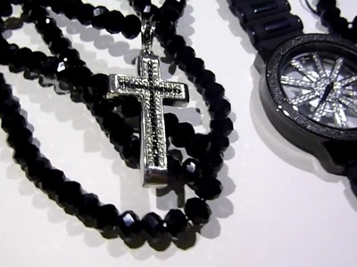 "COMBO: $150 ""Adjustable"" Black Diamond bead type Chain + See-Thru Watch +Bracelet +Mini-Cross!"