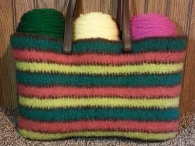 #Crochet Felted Wool Handbag Purse #TUTORIAL