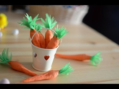 DIY How to make Paper Carrots filled with sweets- Easter decoration in 5min.