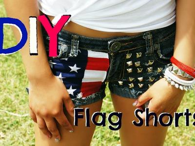 DIY Studded, Distressed Flag Shorts - MissBel01xox
