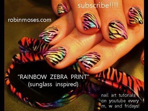 Nail art tutorial | Rainbow nail Design | Zebra print using eyeshadow!