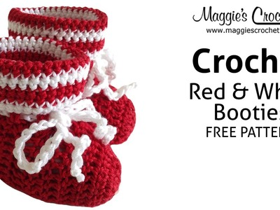 Red & White Bootie Free Crochet Pattern - Right Handed
