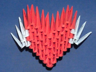 Simple 3D origami Valentine heart with wings for beginners (a gift)