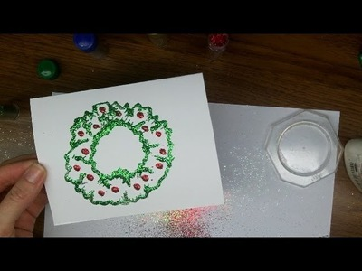 Craft: Make Glitter Christmas Wreath Cards - Easy - fun for kids [Part 4)